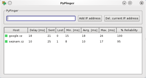 PyPinger screenshot